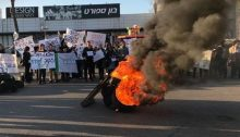 Teva workers demonstrating on Sunday, December 17, in Ashdod