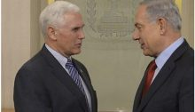 Israeli Prime Minister Benjamin Netanyahu (right) meets with Mike Pence in Jerusalem on December 29, 2014