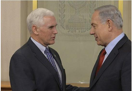 Israeli Prime Minister Benjamin Netanyahu meets with then Senator Mike Pence in Jerusalem, December 29, 2014.