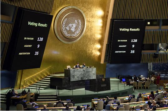 Panels in the hall of the UN General Assembly display the final tally in the vote on the resolution condemning US recognition of Jerusalem as the capital of Israel, during the resumed 10th Emergency Special Session on Illegal Israeli actions in Occupied East Jerusalem and the rest of the Occupied Palestinian Territory, December 21, 2017.