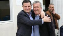 MK Ayman Odeh with Bassem Tamimi, Ahed's father, outside the Ofer Military Court