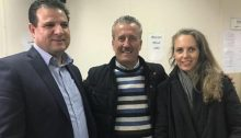 MK Ayman Odeh, Bassem Tamimi and Attorney Gaby Lasky at Ofer Military Court, last Monday