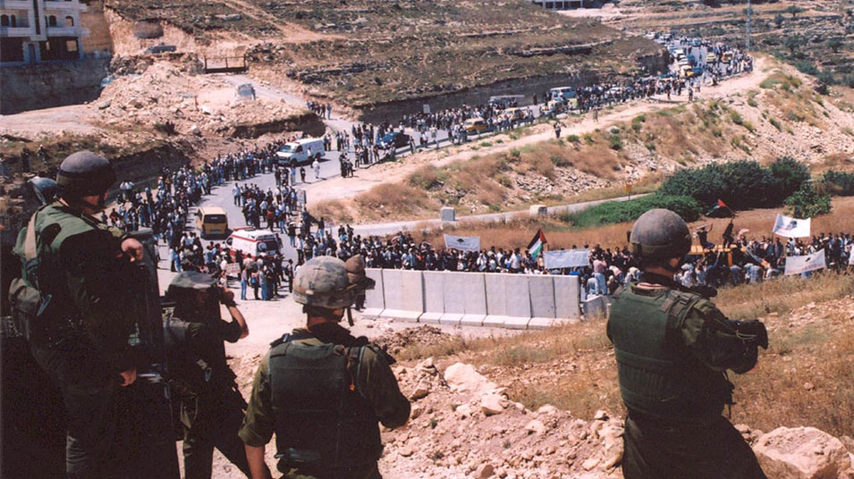 Birzeit students and lecturers demonstrate against the Israeli occupation