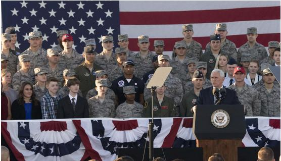United States Vice President Mike Pence with American military personnel