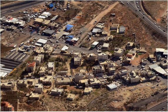 An aerial view of part of the village of Hizma, northeast of Jerusalem