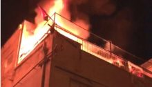 Tel Aviv headquarters of Hadash and the Communist Party of Israel in flames, Wednesday, January 31