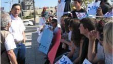 MK Dov Khenin during a demonstration in Jerusalem against the planned mine at Sde Barir