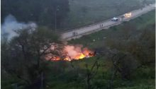 The flaming remains of an Israeli F-16 fighter jet shot down by Syrian forces, Saturday, February 10