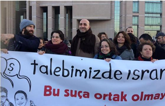 Israeli academics protest outside an Istanbul courthouse alongside Turkish lecturers 150 of whom are on trial for signing a petition calling for peace between Turkey and its Kurdish citizens.