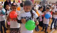 "An activity organized by ""Right to Play"" for children in Gaza"