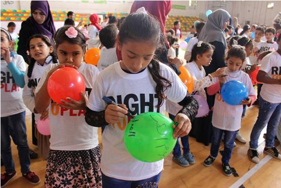 """An activity organized by """"Right to Play"""" for children in Gaza"""