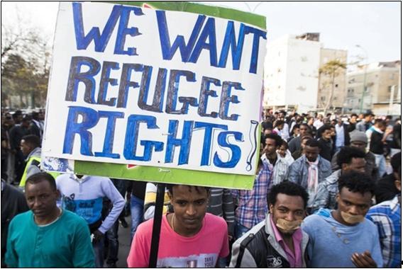 African refugees demonstrate in Tel Aviv.