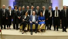 President Reuven Rivlin, Justice Minister Ayelet Shaked and the justices of the Supreme Court, September 2017