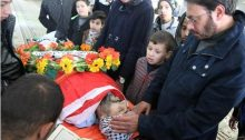 Palestinians mourn Jehad Khalil, 28, during his funeral near Nablus on December 24, 2016. His was one of seven funerals that took place at various locations in the West Bank on the same day for Palestinians that had been killed while allegedly involved in different attacks against Israeli soldiers in previous months. Khalil's and the other bodies had been returned by Israel to their families a day earlier.