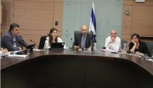 The special joint meeting of the Knesset's House Committee and the Constitution, Law and Justice Committee on Tuesday, March 13; first from left: Hadash MK Youssef Jabareen