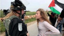 Ahed Tamimi confronts an Israeli soldier in Nabi Saleh
