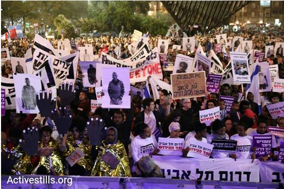 Demonstrators against the racist plan to deport African refugees in Tel Aviv's Rabin Square, Saturday night, March 24