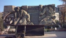 The monument in Sakhnin erected in memory of the six Arab-Palestinians killed during the first Land Day in 1976