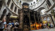 Inside the Jerusalem's Church of the Holy Sepulchre, traditionally recognized by Christians as the site of Jesus' crucifixion, burial and resurrection