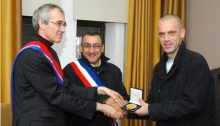 Communist mayor of the city of Gennevilliers, Patrice Leclerc (left) and Addameer's Palestinian-French field researcher and human rights defender Salah Hamouri (right)