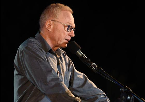Author David Grossman at the alternative Memorial Day ceremony in Tel Aviv on Tuesday night