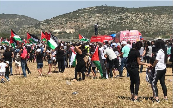 """Participants in the """"March of Return,"""" last Thursday, April 19, near Athlit in northern Israel"""