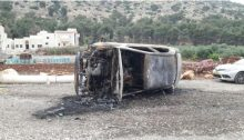 One of the two cars torched in an anti-Arab hate crime in the northern town of Iksal, last Tuesday night
