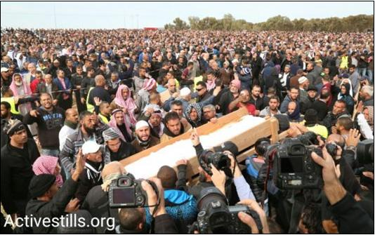 Thousands attend the funeral of Yacoub Musa Abu al-Qee'an in the Bedouin village of Umm al-Hiran. Abu al-Qee'an was shot dead by police as security forces demolished homes in the village, January 24, 2017