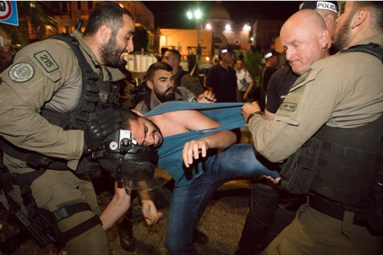 Police using brutal force against demonstrators in Jaffa Street in Haifa, Friday night, May 18