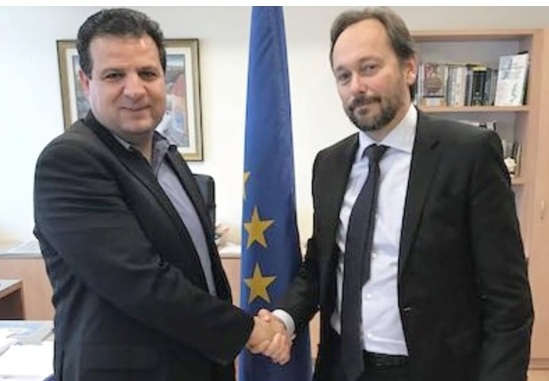 MK Ayman Odeh (Joint List – Hadash) and Emanuele Giaufret, head of Delegation of European Union to the State of Israel