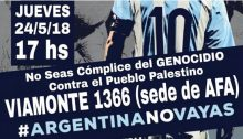 Argentina Don't Go! A call to a demonstration that was held in Buenos Aires outside the offices of the Argentine Football Association on Thursday, May 24, against Argentina's national football team holding a friendly match with the Israeli national team in Jerusalem.