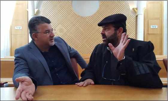 Hadash Knesset Member Dr. Yousef Jabareen (left) with Adalah General Director Hassan Jabareen in Israel's Supreme Court in Jerusalem on Monday, June 4, 2018.