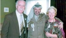 Leading Communist activist Tawfic Toubi, Palestinian Chairman Yasser Arafat and Attorney Felicia Langer