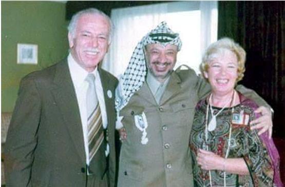 Leading Communist activist Tawfic Toubi, Palestinian Chairman Yasser Arafat and Attorney Felicia Langer