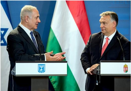 Prime Minister Benjamin Netanyahu and his Hungarian counterpart Viktor Orban during a joint press conference they held at the parliament in Budapest a year ago, July 18, 2017