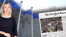 "The European Union's High Representative for Foreign Affairs and Security Policy Foreign Policy Chief Federica Mogherini and the New York Times headlines: ""Israel Enshrines Rights for Jews"""