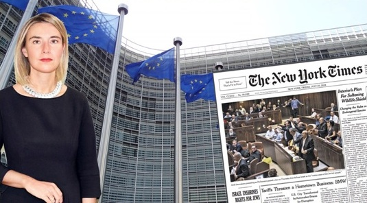 "The European Union's High Representative for Foreign Affairs and Security Federica Mogherini and the New York Times headlines: ""Israel Enshrines Rights for Jews"""