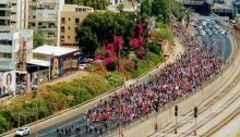 Thousands of LGBT protestors and supporters blocked Ayalon Freeway in Tel Aviv, Sunday morning, July 22.