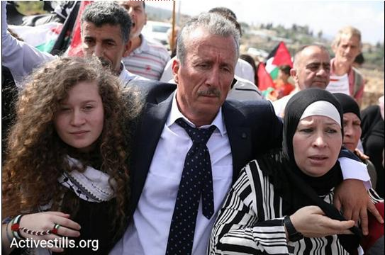 Ahed, Bassem and Nariman Tamimi after the release of the mother and daughter on route to their home village of Nabi Saleh, July 29, 2018