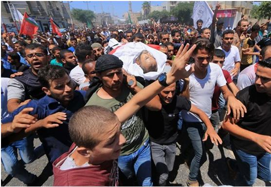 "One of the three funeral processions held on Saturday, August 11, for the victims of Israeli fire during the 20th consecutive ""Great March of Return"" a day earlier"