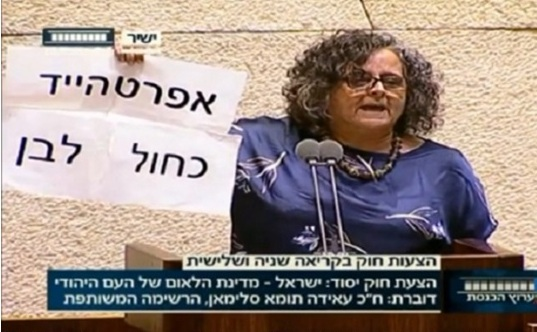 """MK Touma-Sliman during a debate on Nation-State law in the Knesset: """"Apartheid Israeli Style"""""""