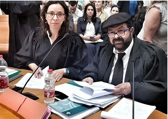 Adalah Attorney Suhad Bishara, left, and General Director Attorney Hassan Jabareen during a hearing at the Israeli Supreme Court in Jerusalem on a petition against the Settlement Regularization Law filed jointly by Adalah, JLAC, Al Mezan, and 17 Palestinian local councils in the occupied West Bank