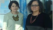 UN Undersecretary for Political Affairs, Rosemary DiCarlo, left, and MK Aida Touma-Sliman during their meeting at the UN headquarters in New York, August 23, 2018