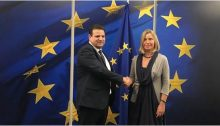 MK Odeh and the European Union foreign policy chief Federica Mogherini in Brussels