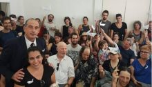 Attorney Yossi Havilio, first from left, and Barbur Gallery supporters during the court proceedings