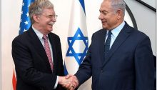 Trump's National Security Advisor, John Bolton, and Israel's PM Benjamin Netanyahu