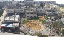 "Some of the devastation in the Palestinian city of Rafah in the southern Gaza Strip, resulting from an attack launched by Israel on ""Black Friday"" in August 2014 against a residential area and during which more than 200 Palestinian civilians were killed"