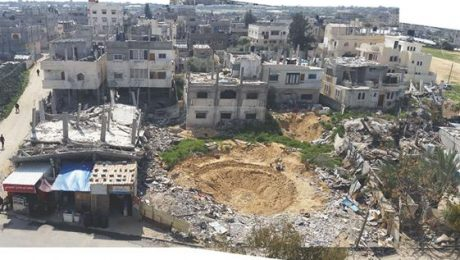 """Some of the devastation in the Palestinian city of Rafah in the southern Gaza Strip, resulting from an attack launched by Israel on """"Black Friday"""" in August 2014 against a residential area and during which more than 200 Palestinian civilians were killed"""