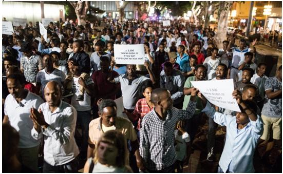 "African migrants and supporters demonstrate against the ""Deposit Law"" in Tel Aviv."