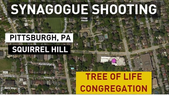 Aerial view of the location of the Pittsburgh synagogue massacre